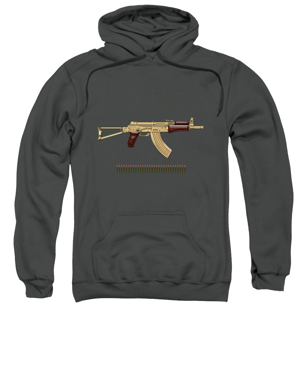 'the Armory' Collection By Serge Averbukh Sweatshirt featuring the photograph Gold A K S-74 U Assault Rifle With 5.45x39 Rounds Over Red Velvet  by Serge Averbukh