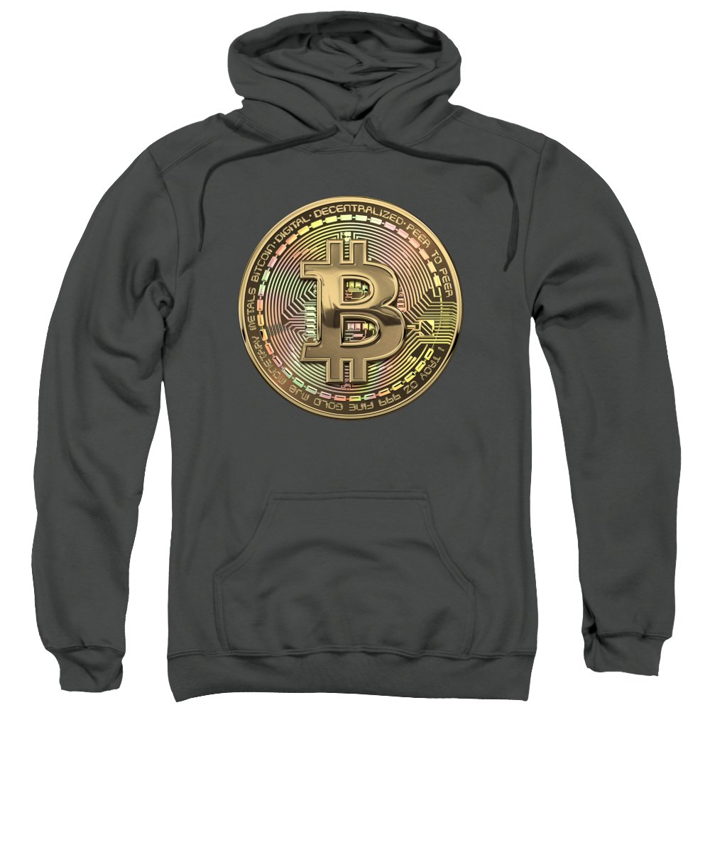 'money' Collection By Serge Averbukh Sweatshirt featuring the photograph Gold Bitcoin Effigy Over Red Canvas by Serge Averbukh