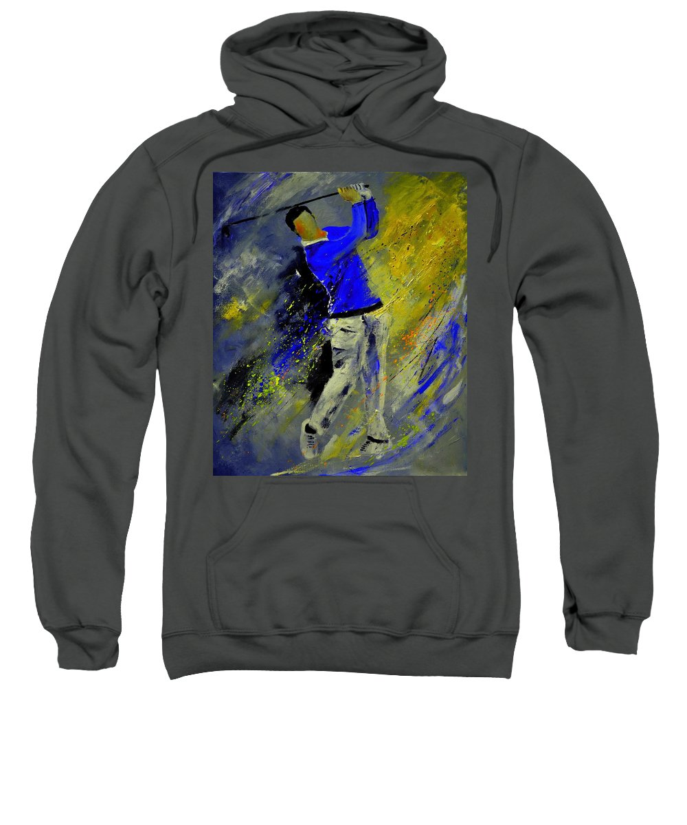 Golf Sweatshirt featuring the painting Golfplayer by Pol Ledent
