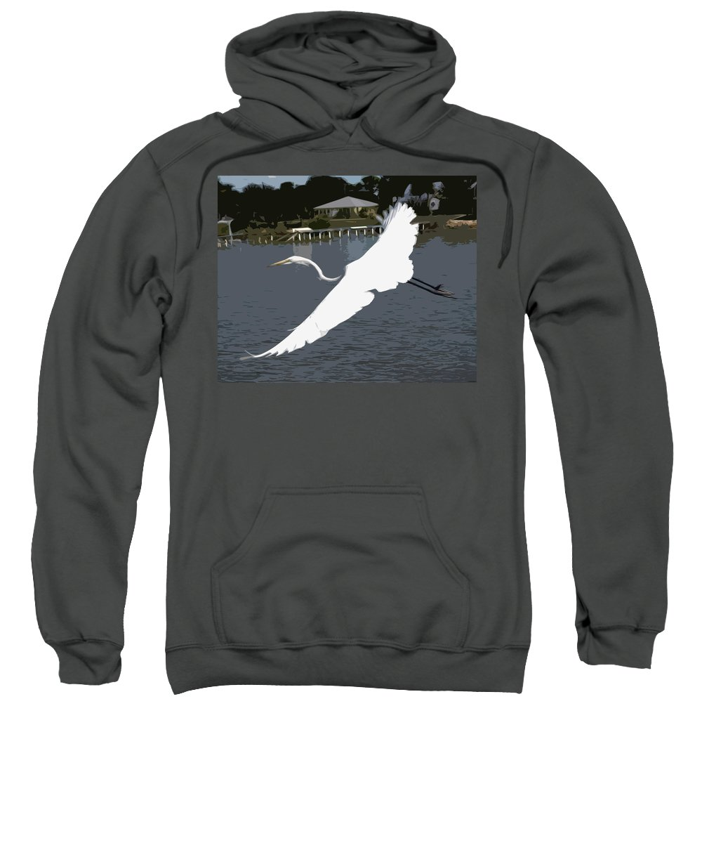 Great Sweatshirt featuring the painting Great Egret At Melbourne Beach by Allan Hughes