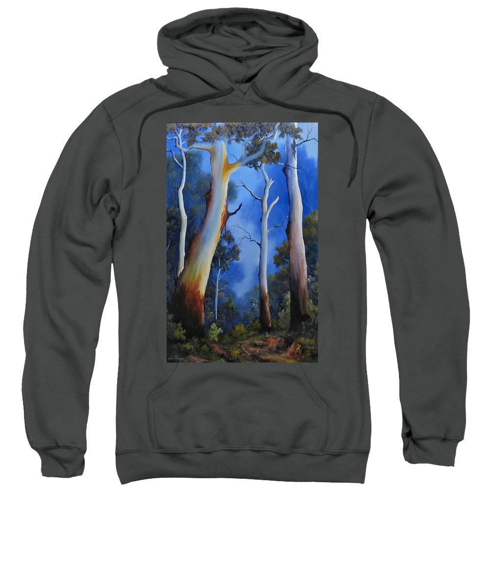 Gumtrees Sweatshirt featuring the painting Gumtree View by John Cocoris