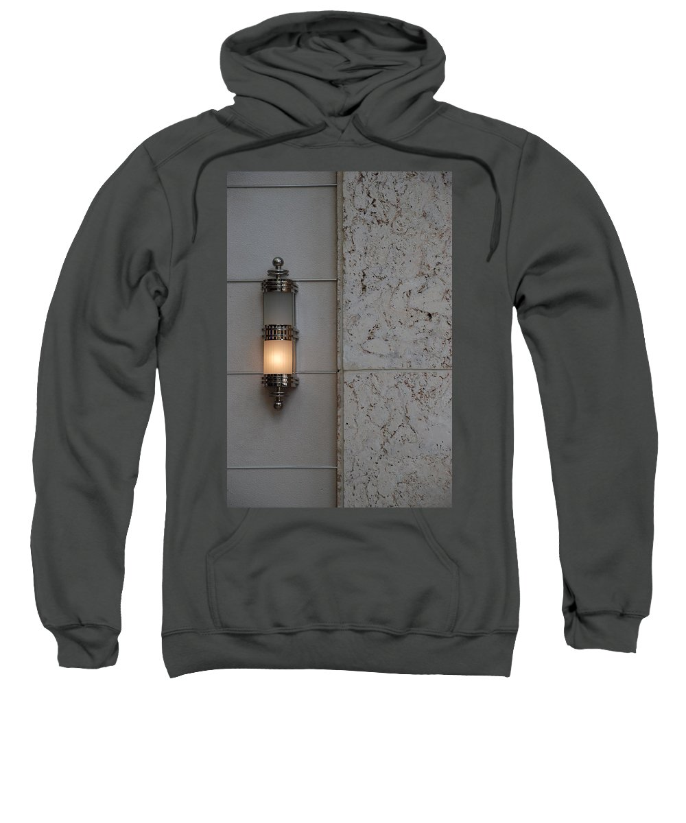 Sconce Sweatshirt featuring the photograph Half Lit Wall Sconce by Rob Hans