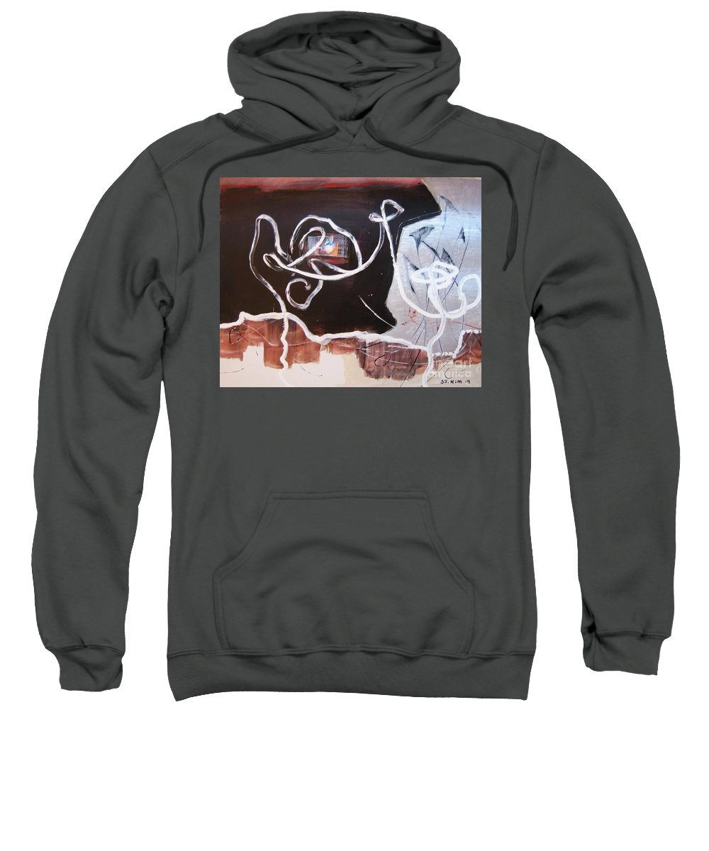 Abstract Paintings Sweatshirt featuring the painting Hand In Hand by Seon-Jeong Kim