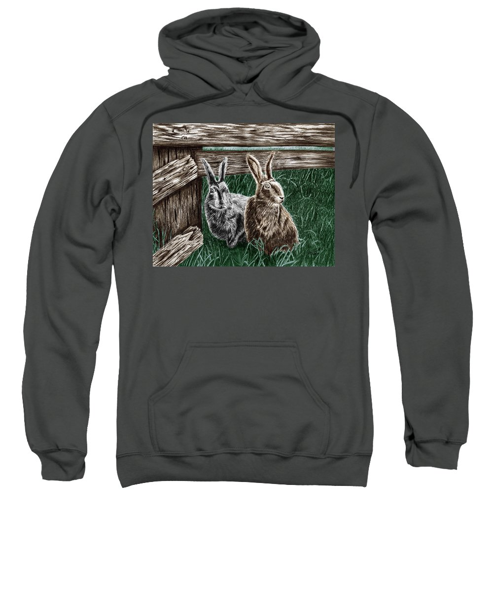 Hare Line Sweatshirt featuring the drawing Hare Line by Peter Piatt