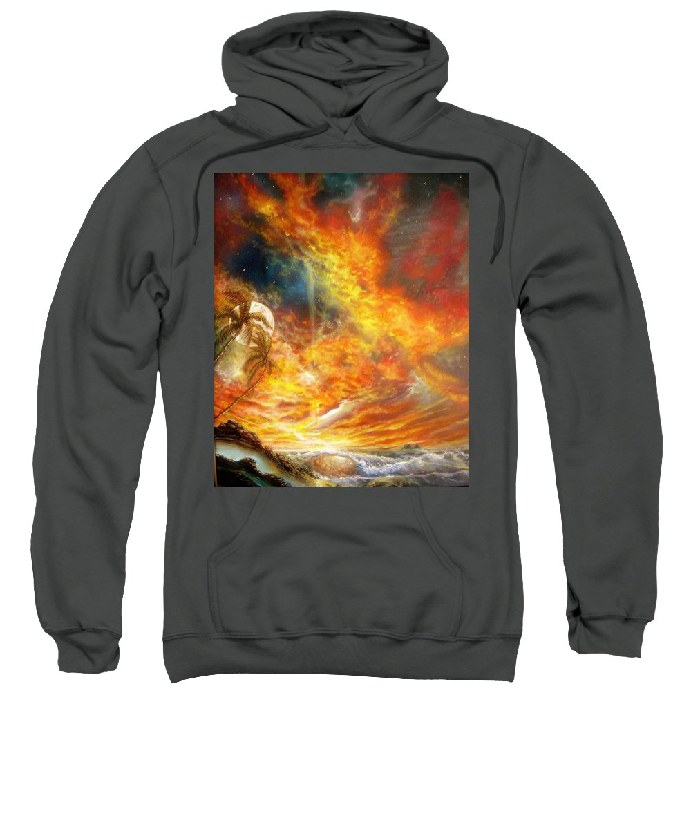 Hawaii Sunset Sweatshirt featuring the painting Hawaii Sunset by Leland Castro