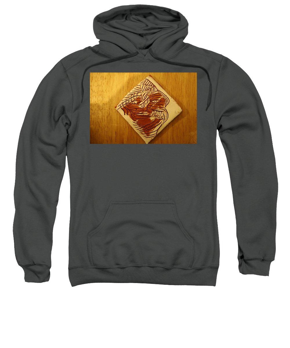 Jesus Sweatshirt featuring the ceramic art Herald - Tile by Gloria Ssali