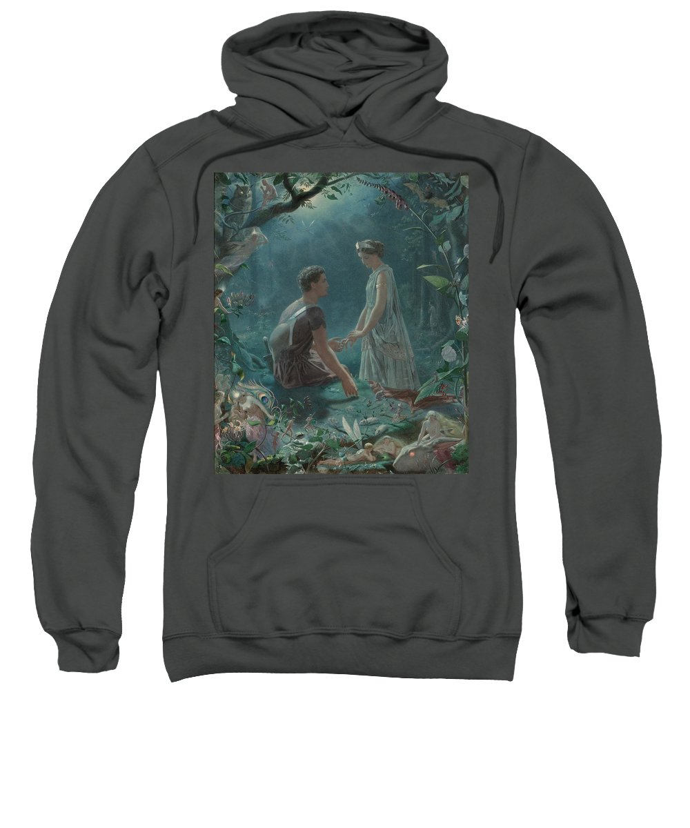Hermia And Lysander Sweatshirt featuring the painting Hermia And Lysander by John Simmons