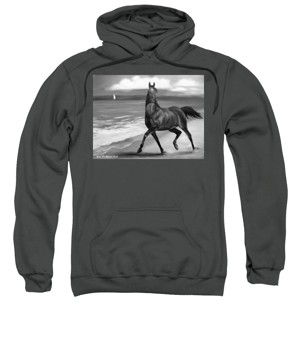 Horses Sweatshirt featuring the painting Horses In Paradise Dance by Gina De Gorna