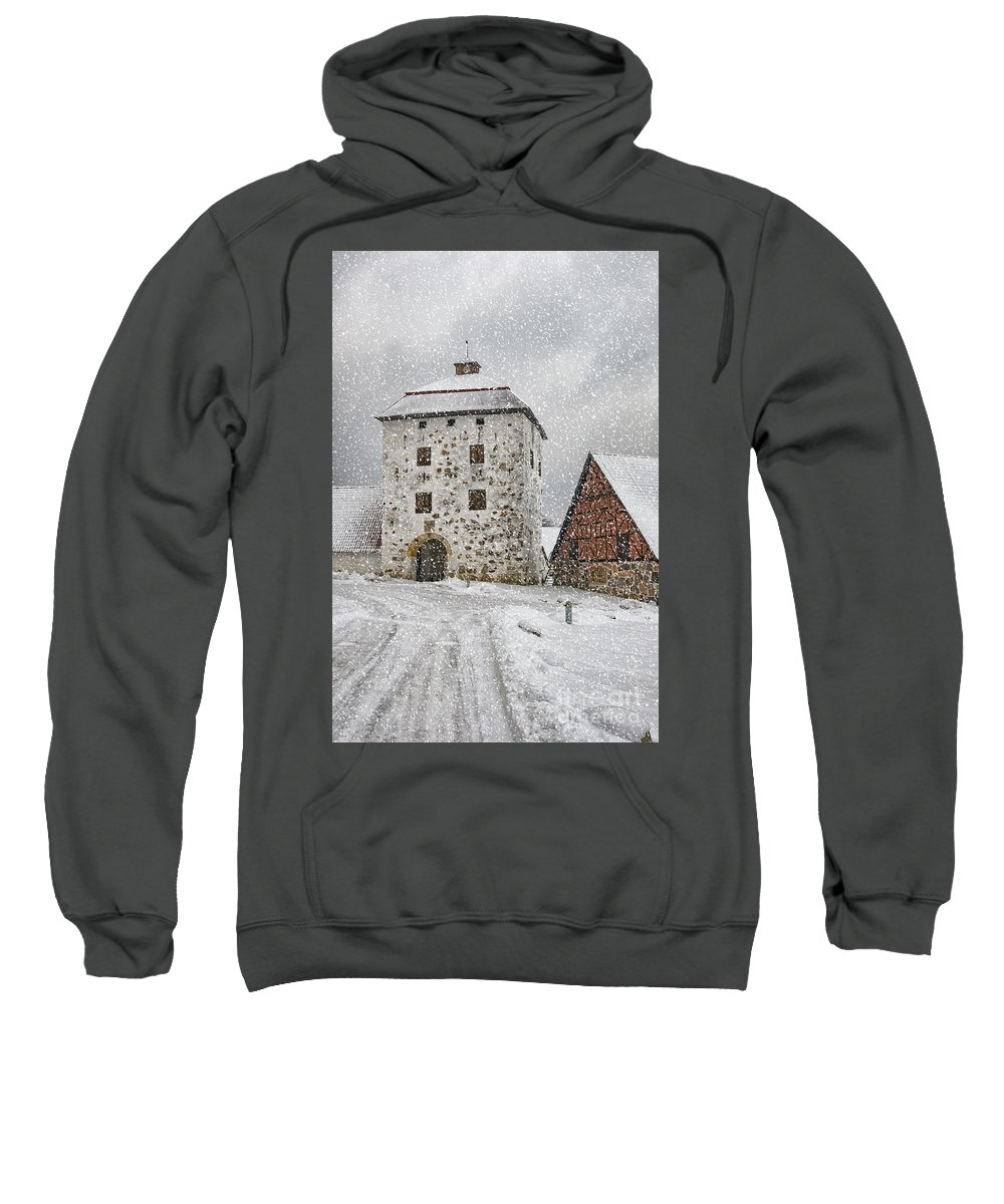 Winter Sweatshirt featuring the photograph Hovdala Castle Gatehouse In Winter by Antony McAulay