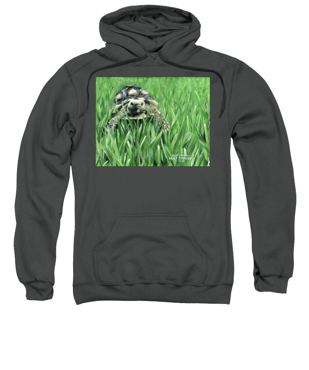 Sulcata Tortoise Sweatshirt featuring the painting Howdy Dudie by Arleana Holtzmann
