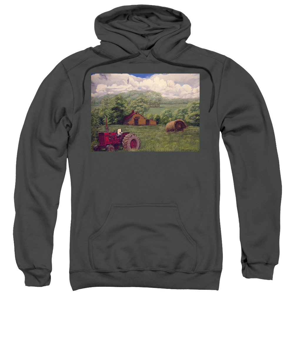 Landscape Sweatshirt featuring the painting Idle In Godfrey Georgia by Peter Muzyka