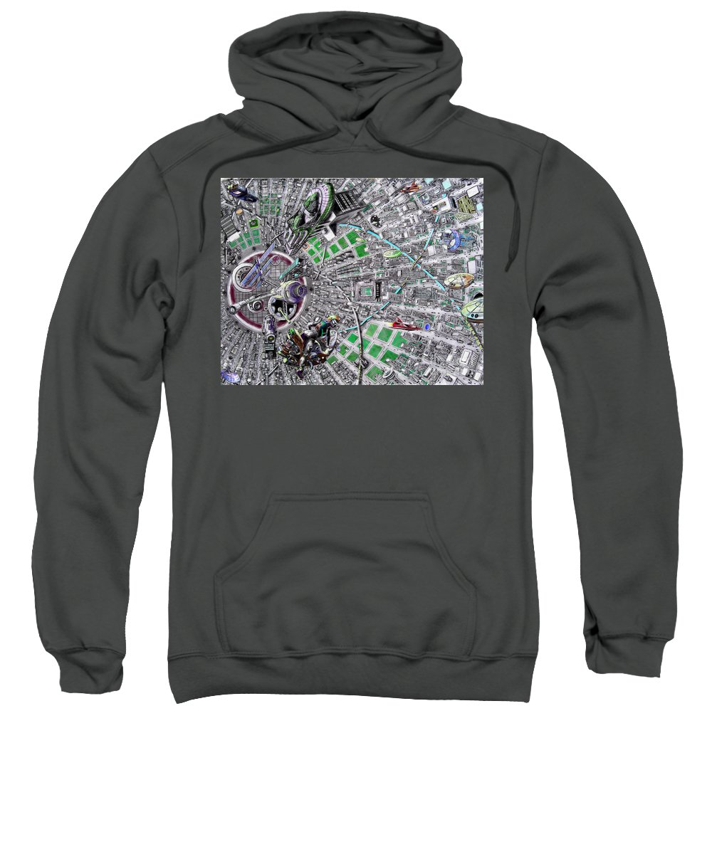 Landscape Sweatshirt featuring the drawing Inside Orbital City by Murphy Elliott