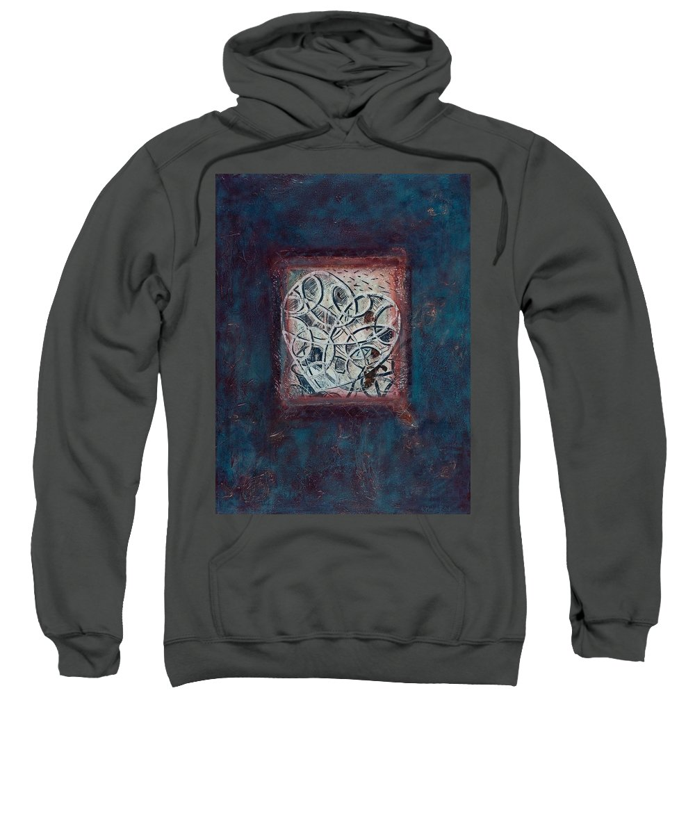 Heart Sweatshirt featuring the painting Inspirit - Where Spirit Resides Series by Kerryn Madsen-Pietsch