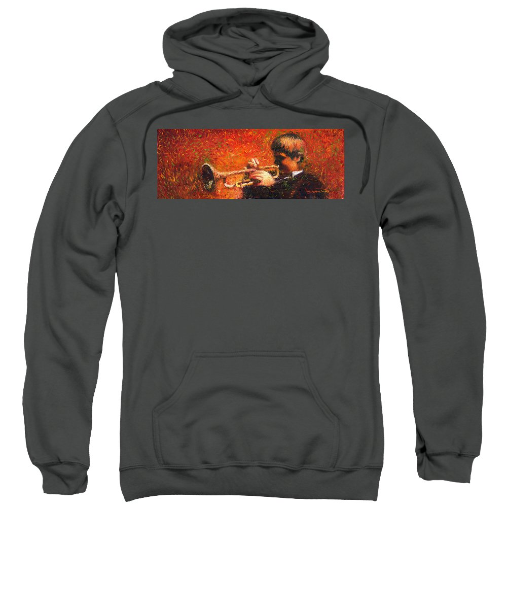 Jazz Sweatshirt featuring the painting Jazz Trumpeter by Yuriy Shevchuk