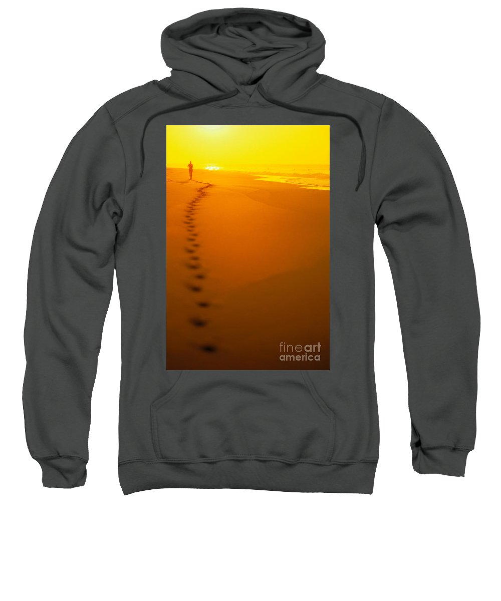 C1211 Sweatshirt featuring the photograph Jogging At Sunset by Dana Edmunds - Printscapes