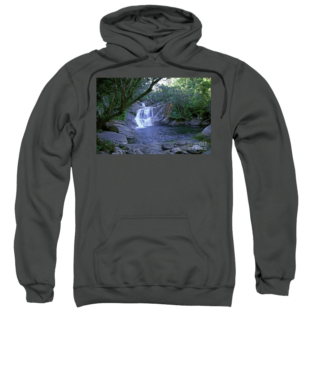 Tropical Sweatshirt featuring the photograph Josephine Falls And Tropical Pool by Kerryn Madsen- Pietsch