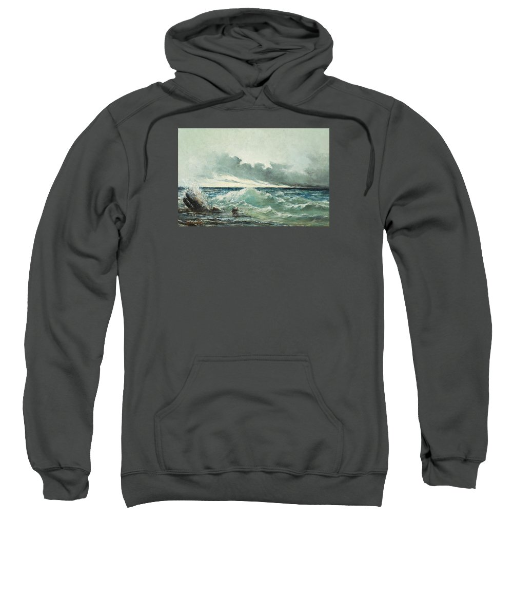 Sea Sweatshirt featuring the painting La Vague by Gustave Courbet