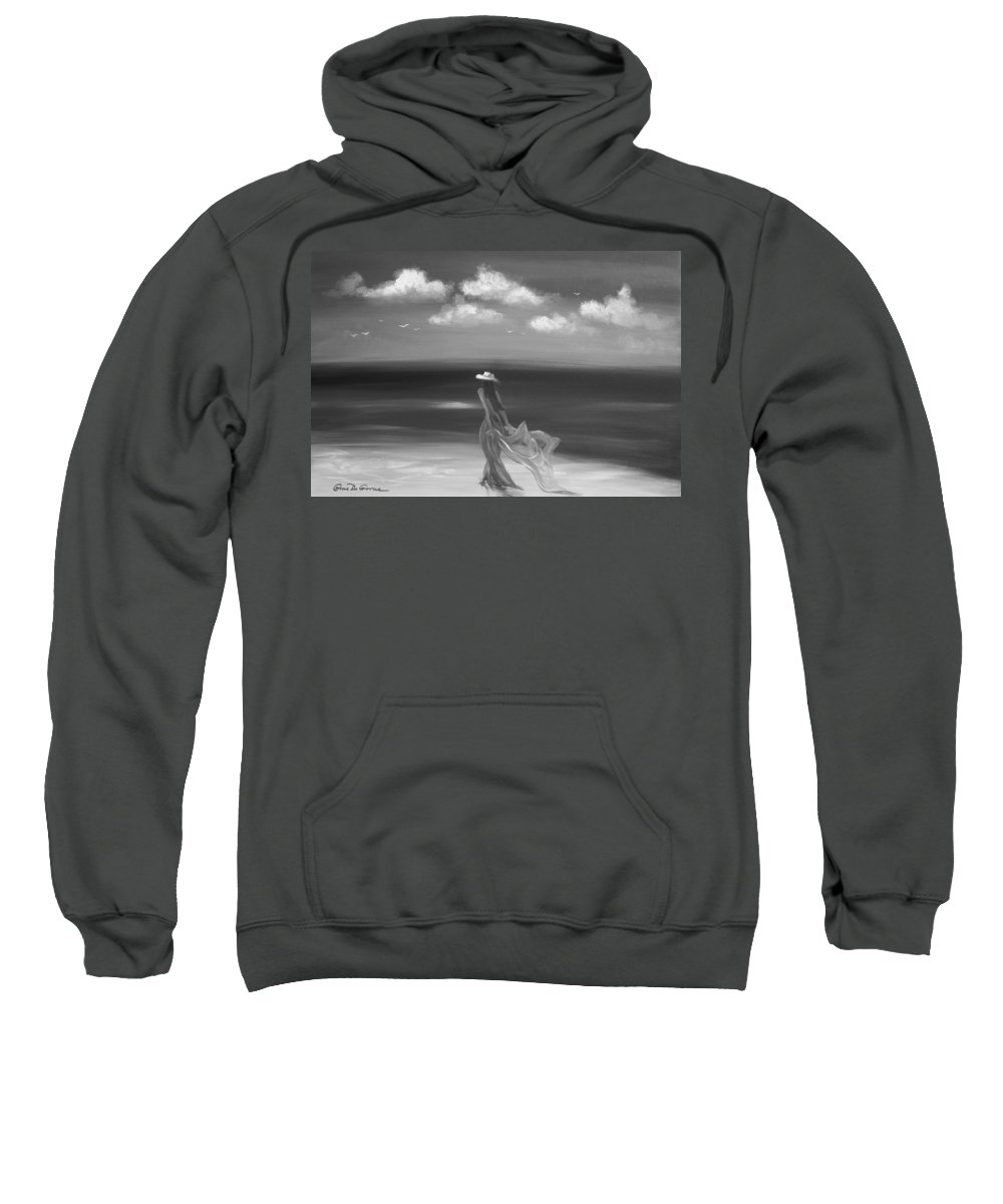 Original Sweatshirt featuring the painting Lady In Red by Gina De Gorna