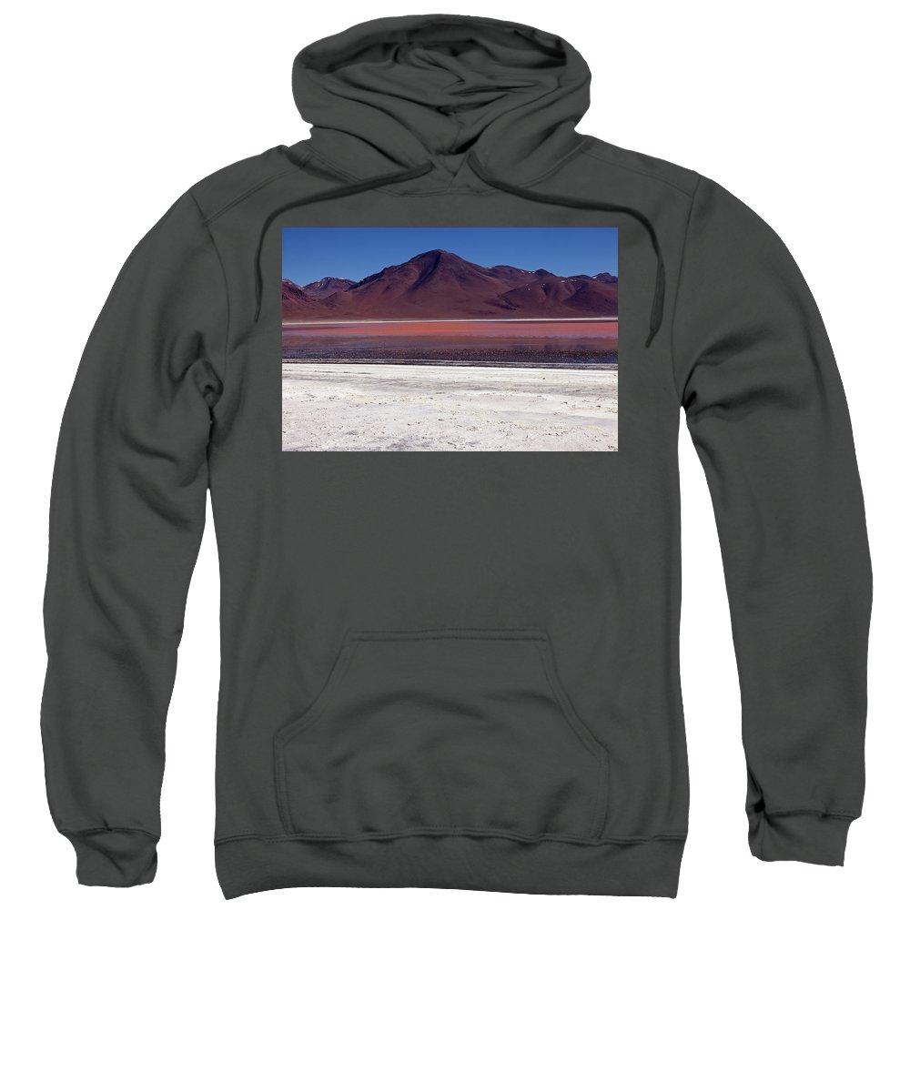 Laguna Colorada Sweatshirt featuring the photograph Laguna Colorada And Mountains by Aivar Mikko