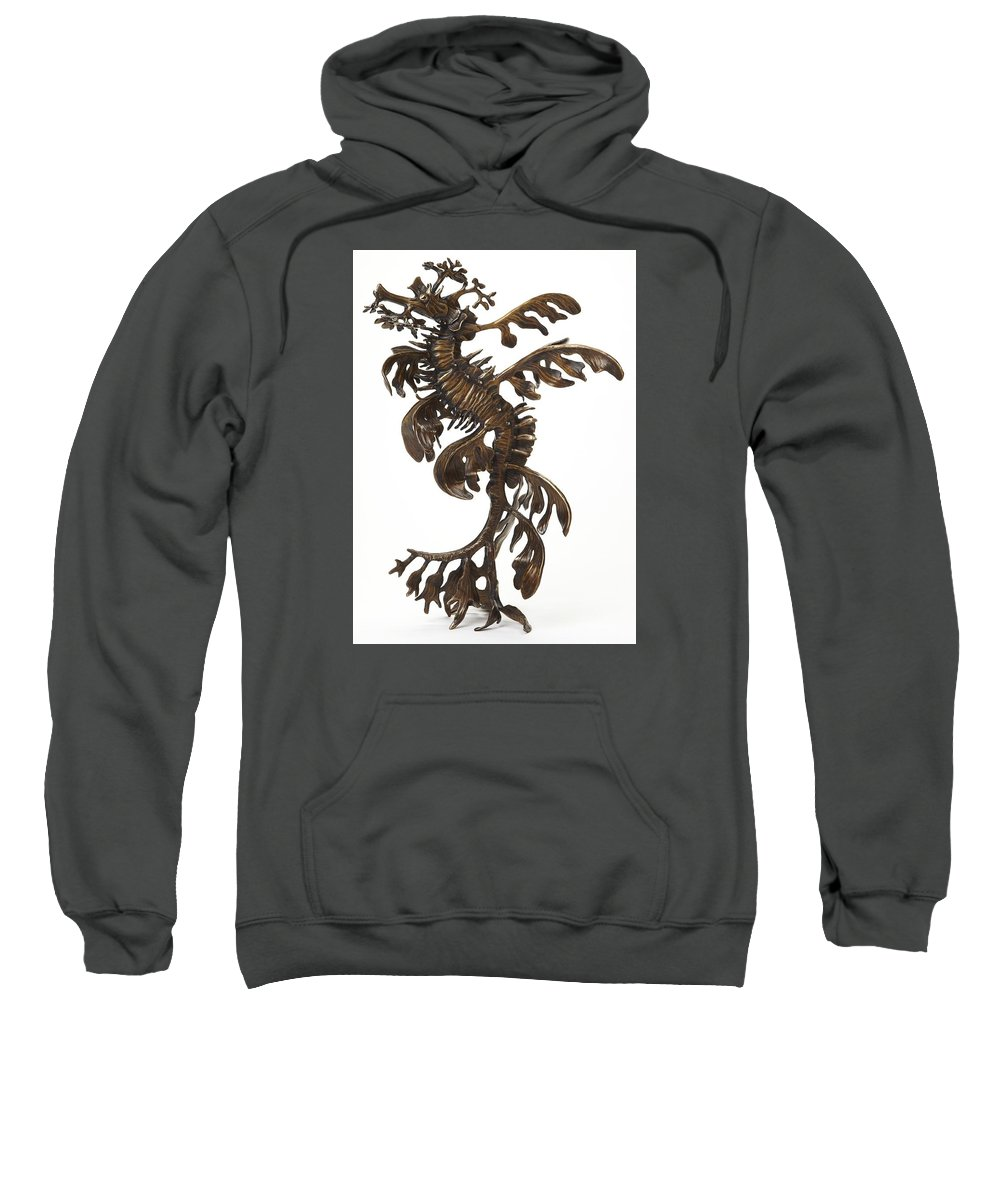 Sea Sweatshirt featuring the sculpture Leafy by Kirk McGuire Bronze Sculpture