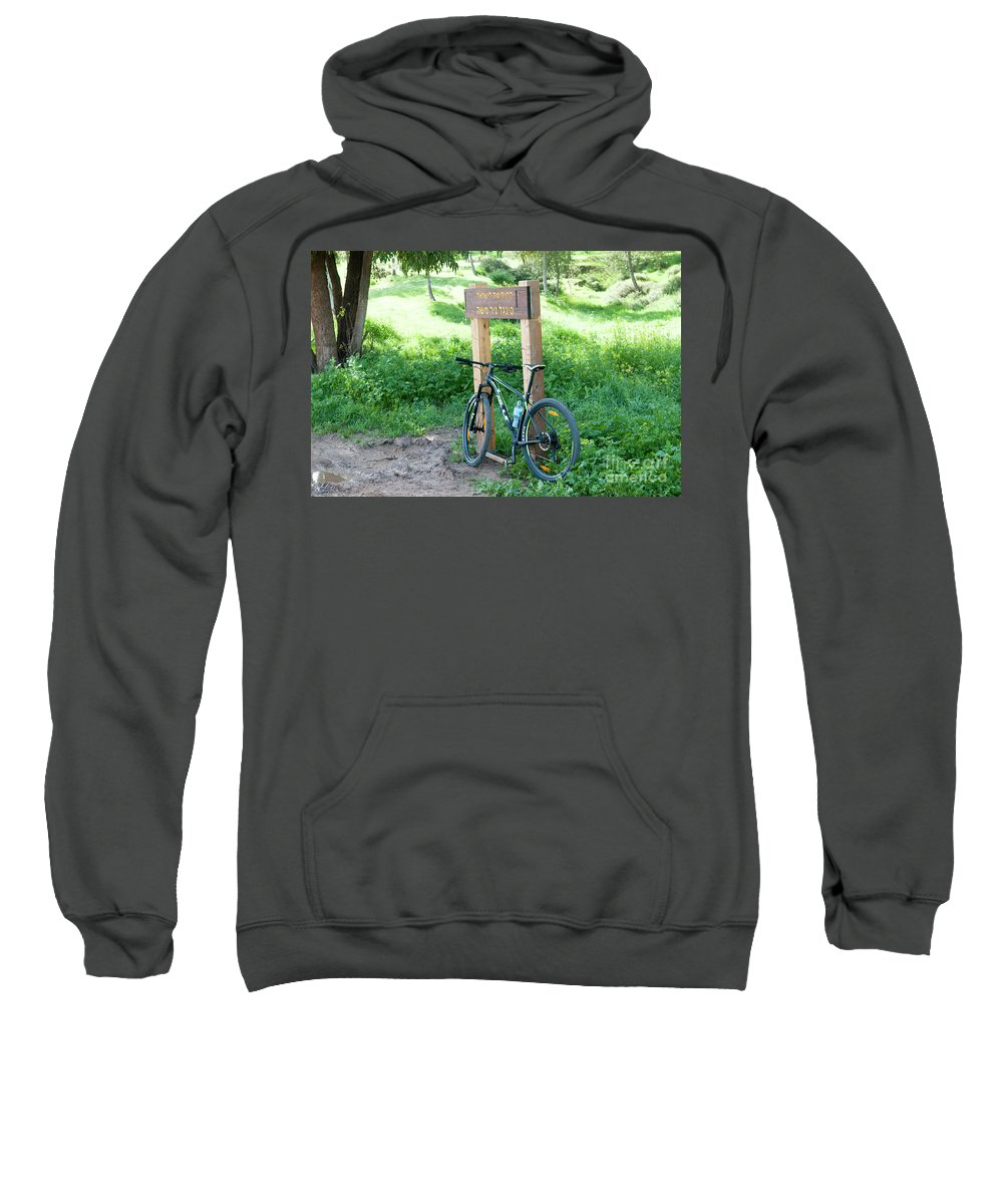 Bicycle Sweatshirt featuring the photograph Leisure Cross Contry Cyclists by Ilan Rosen