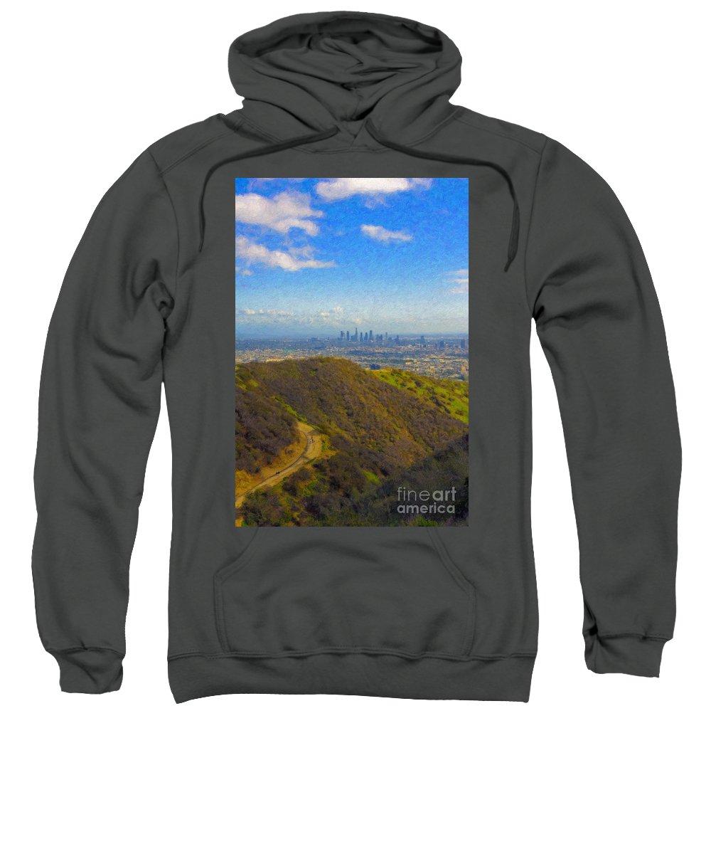 Los Angeles Ca Skyline Hollywood Runyon Canyon Hiking Trail Sweatshirt featuring the photograph Los Angeles Ca Skyline Runyon Canyon Hiking Trail by David Zanzinger
