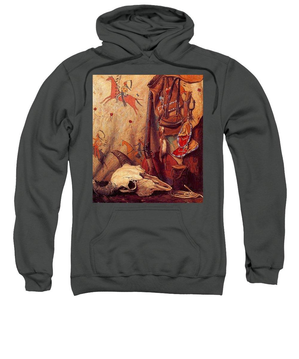 Tattoo Sweatshirt featuring the digital art lrs Sharp Joseph Henry Old Frontier Stuff Joseph Henry Sharp by Eloisa Mannion