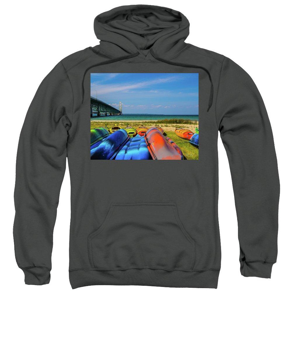 Bridge Sweatshirt featuring the photograph Mackinac Bridge 2241 by Jana Rosenkranz