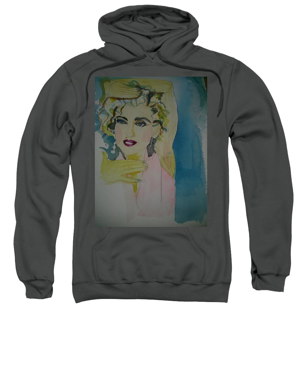 Pop Art Sweatshirt featuring the painting Madonna by Anna Pezhman
