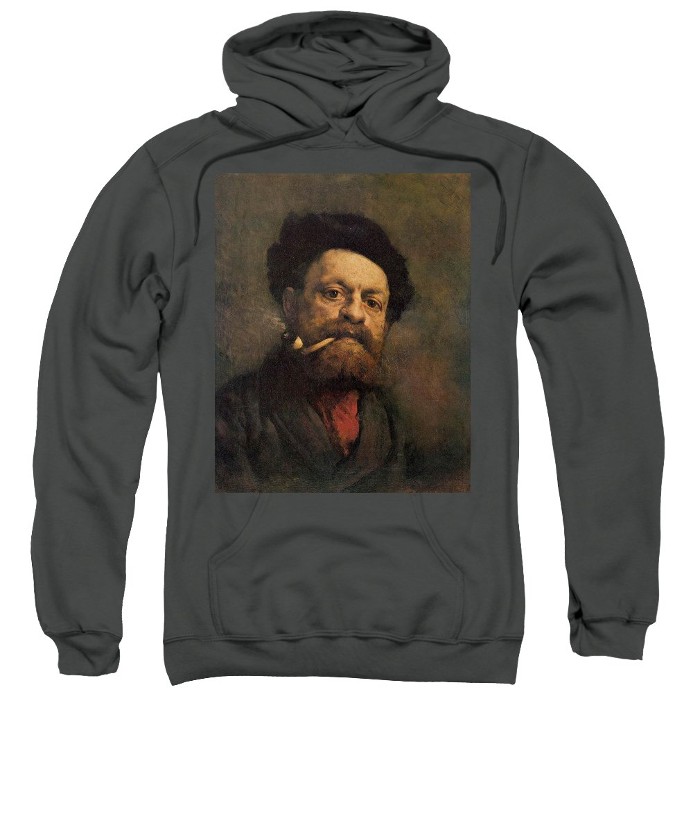 Man With A Pipe Sweatshirt featuring the painting Man With A Pipe by Gustave Courbet