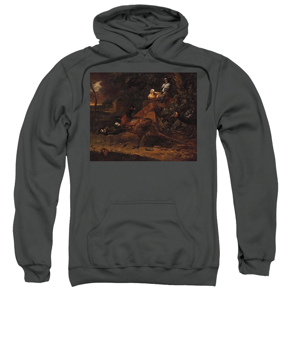 Nature Sweatshirt featuring the painting Melchior De Hondecoeter In The Manner Of The Artist, Wild Birds In A Park Landscape. by Artistic Rifki