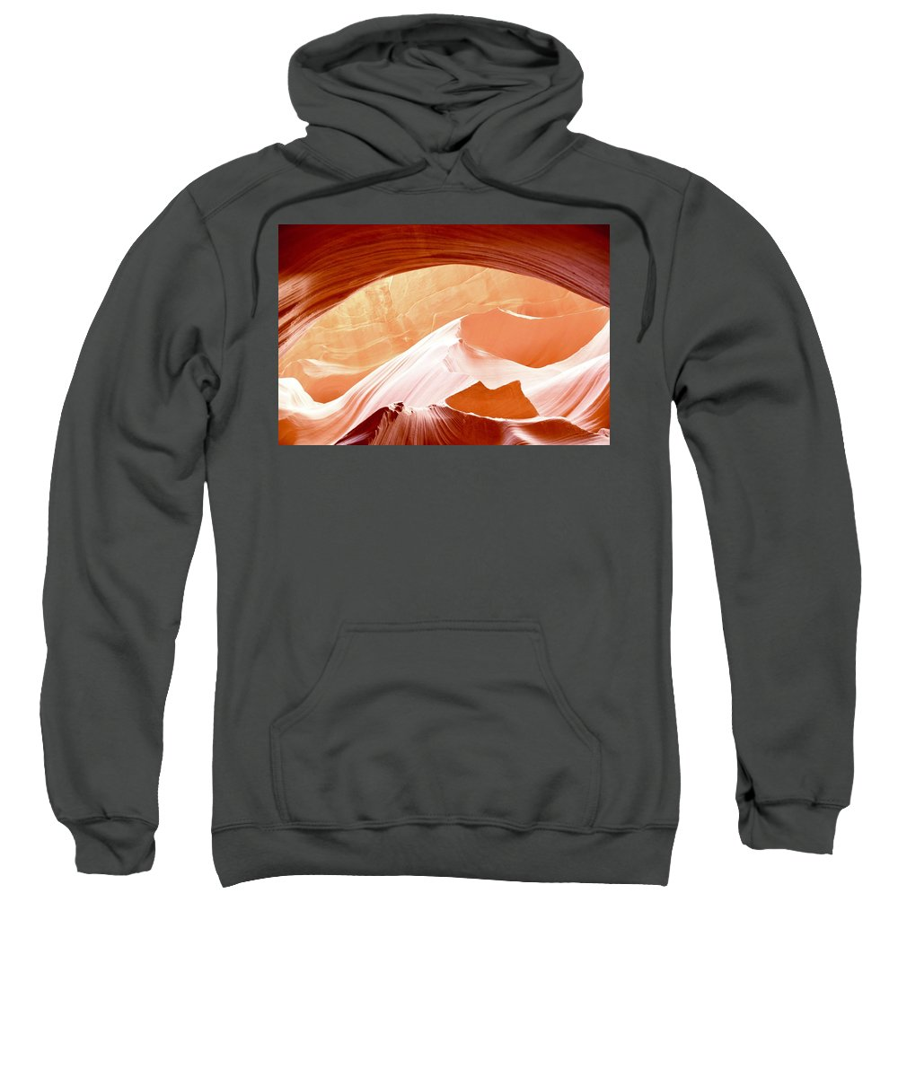 Antelope Canyon Sweatshirt featuring the photograph Moon Over The Mountains by Barbara Stellwagen