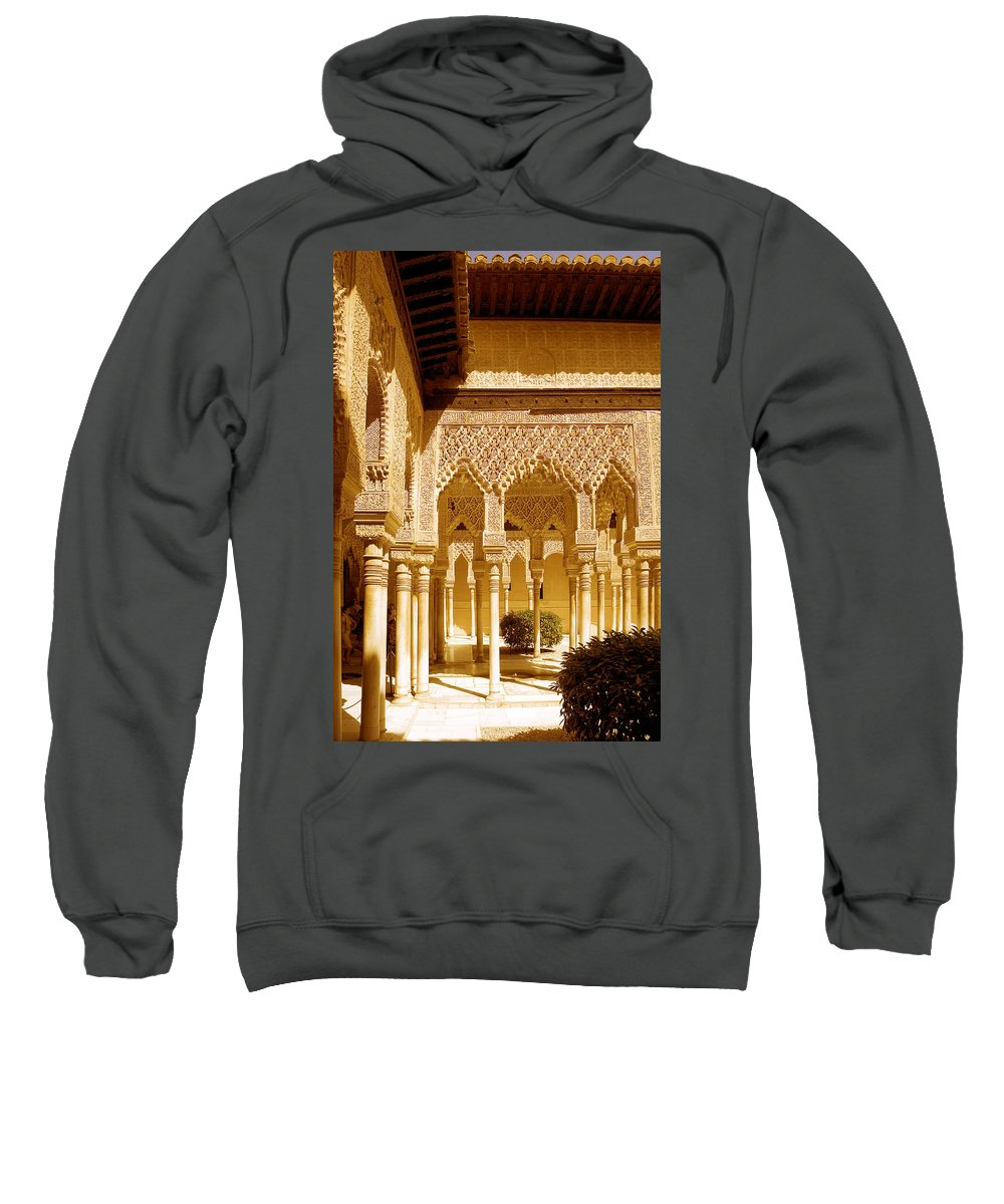 Moorish Sweatshirt featuring the photograph Moorish Architecture In The Nasrid Palaces At The Alhambra Granada by Mal Bray