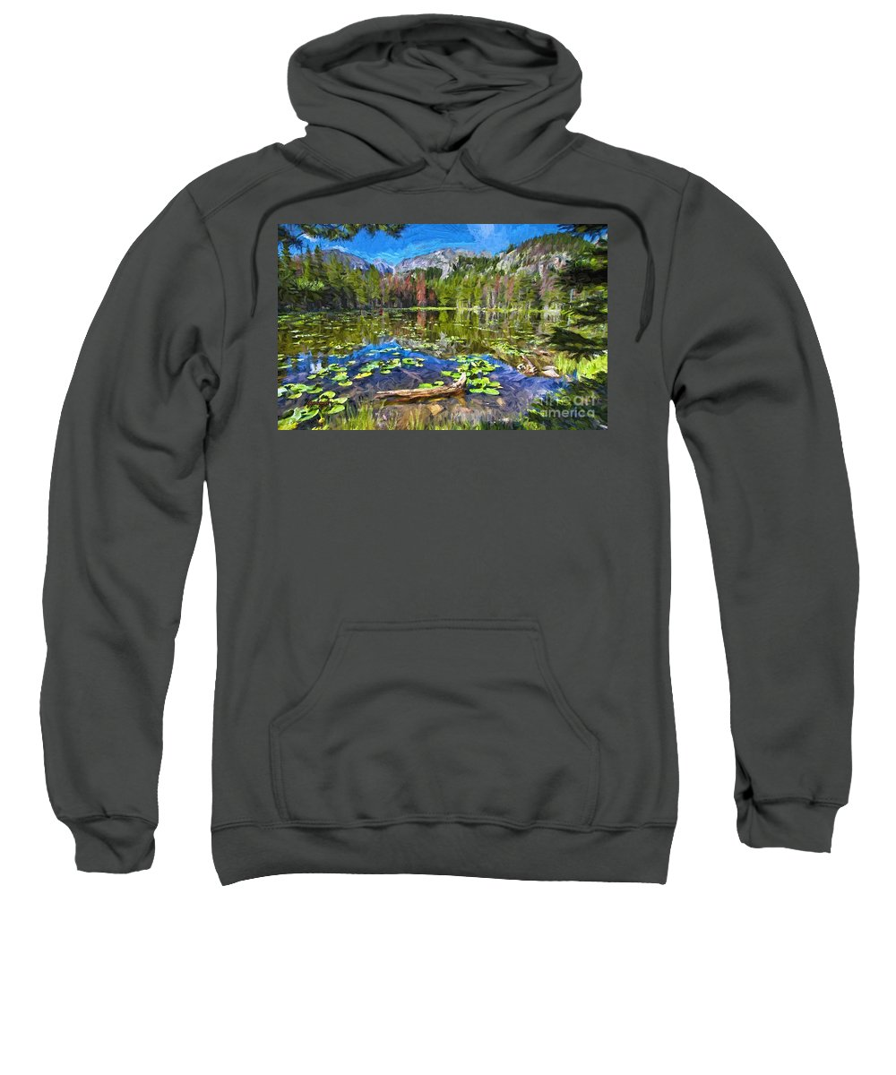 Canada Sweatshirt featuring the mixed media Mountains And Lake by Garland Johnson