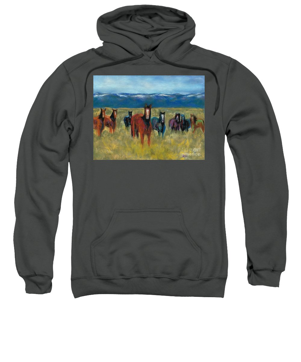 Mustangs Sweatshirt featuring the painting Mustangs In Southern Colorado by Frances Marino