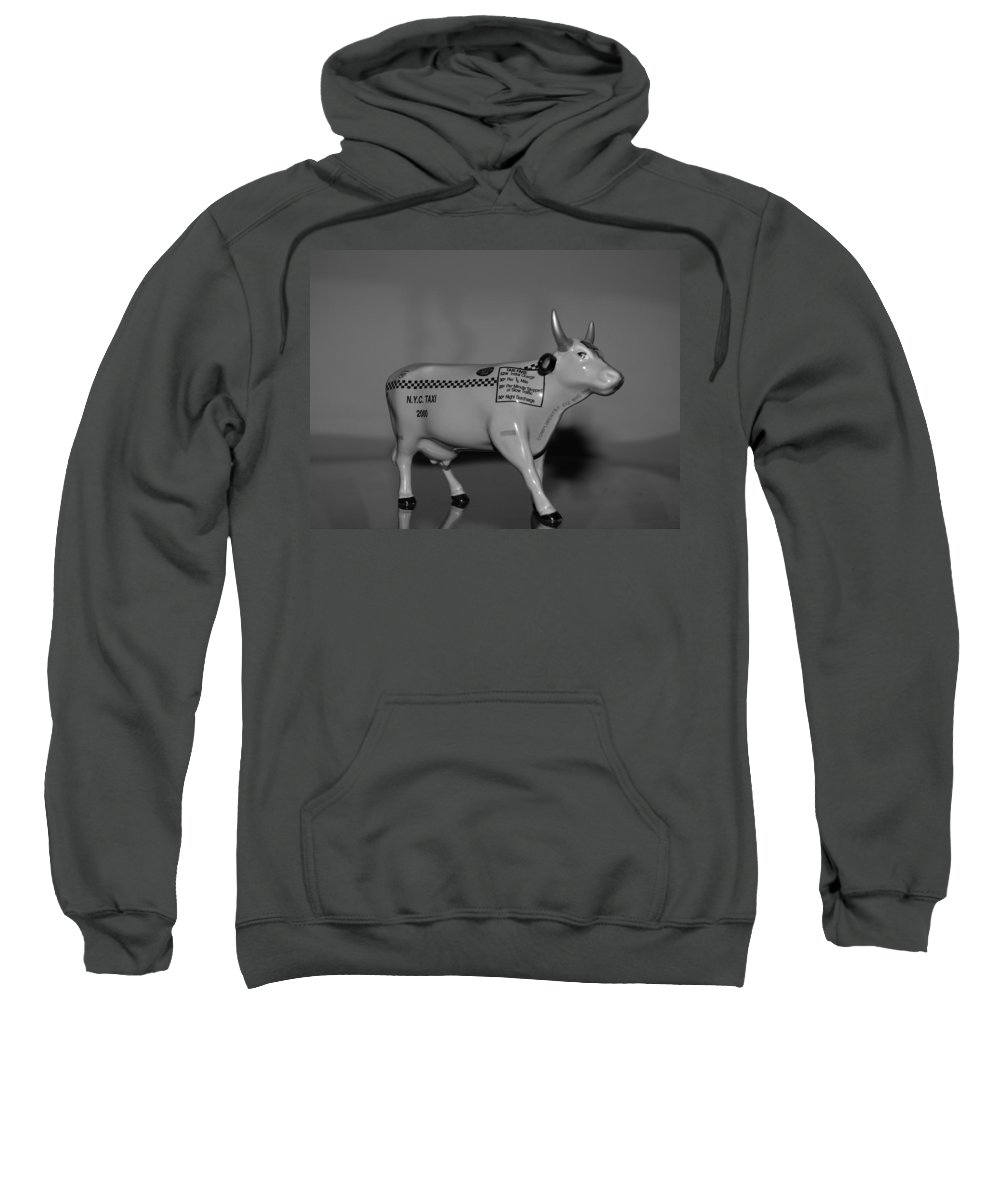 Macro Sweatshirt featuring the photograph N Y C Taxi Cow by Rob Hans