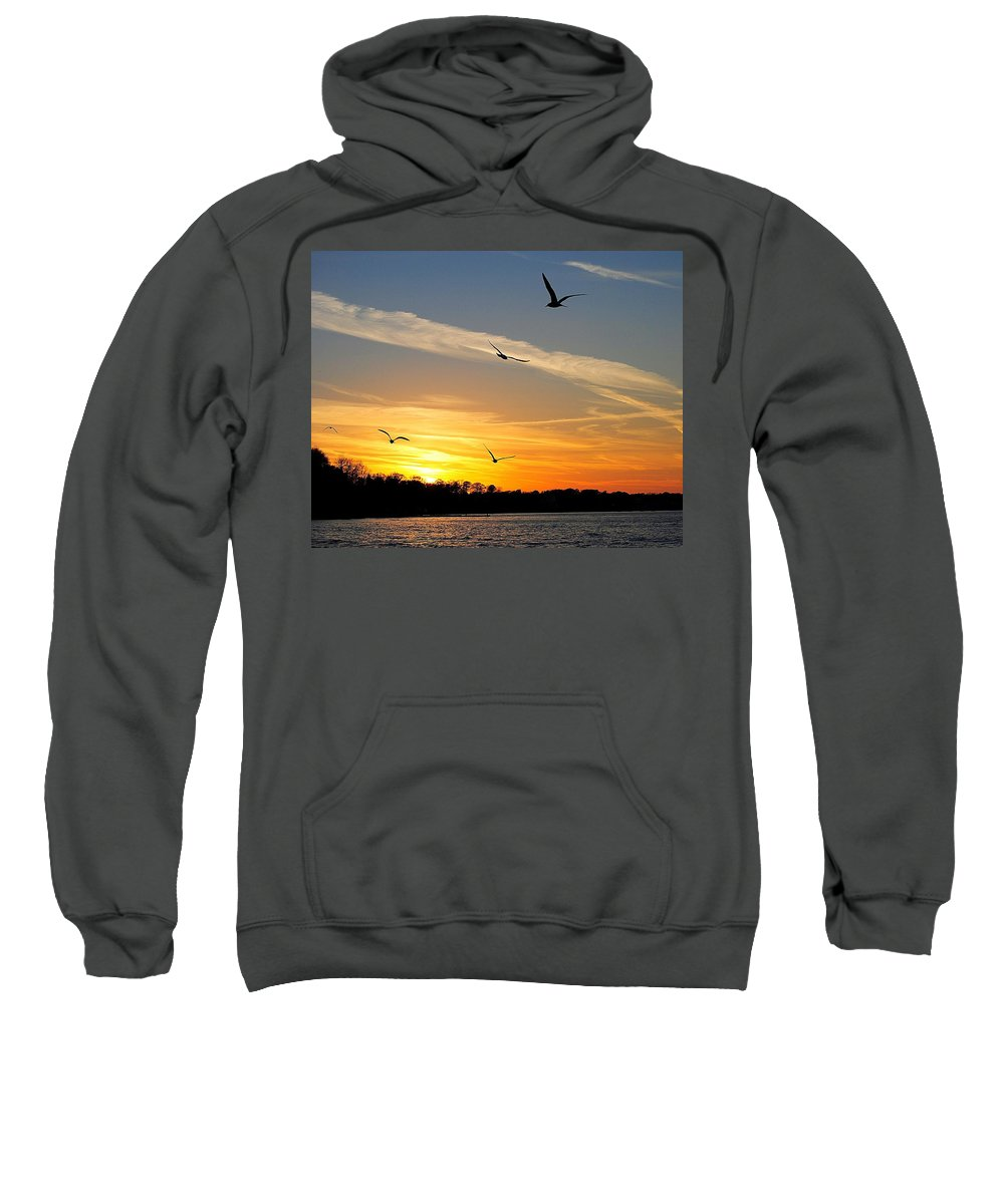 Lake Sweatshirt featuring the photograph November Sunset by Frozen in Time Fine Art Photography