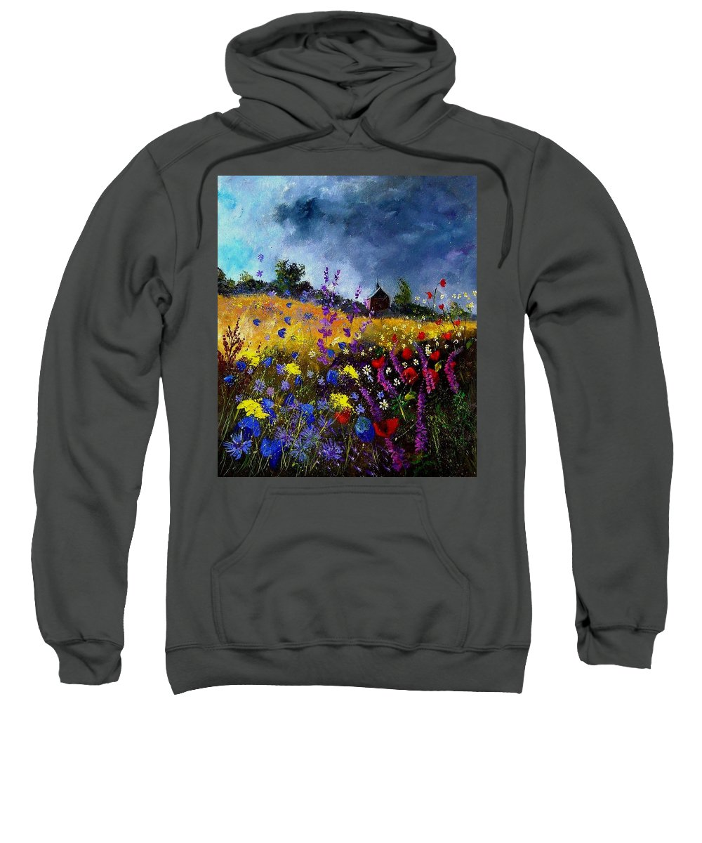 Flowers Sweatshirt featuring the painting Old Chapel And Flowers by Pol Ledent