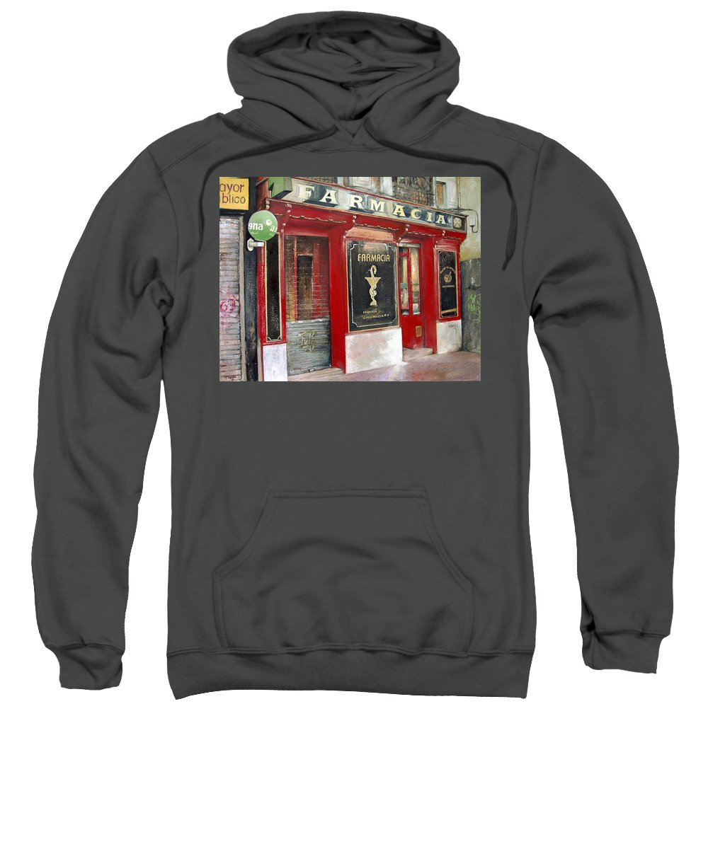 Farmacia Sweatshirt featuring the painting Old Pharmacy by Tomas Castano