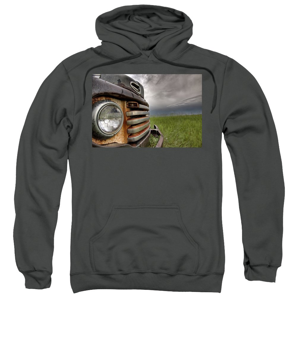 Transportation Sweatshirt featuring the digital art Old Vintage Truck On The Prairie by Mark Duffy
