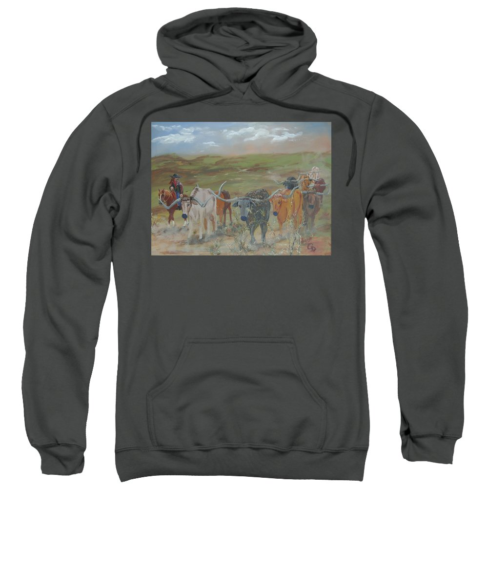 On The Chisholm Trail Sweatshirt featuring the painting On The Chisholm Trail by Gail Daley