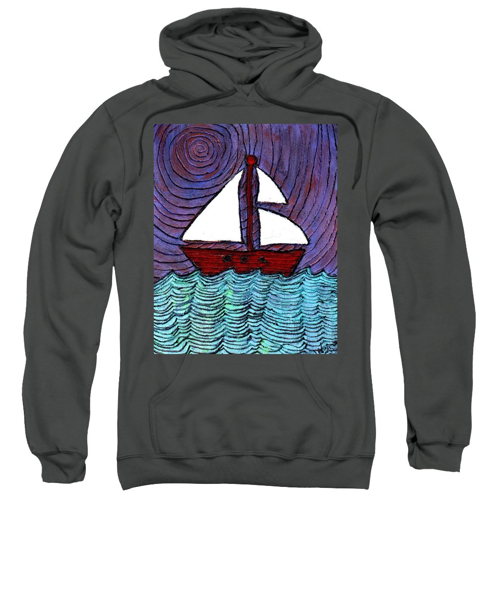 River Sweatshirt featuring the painting On The River by Wayne Potrafka
