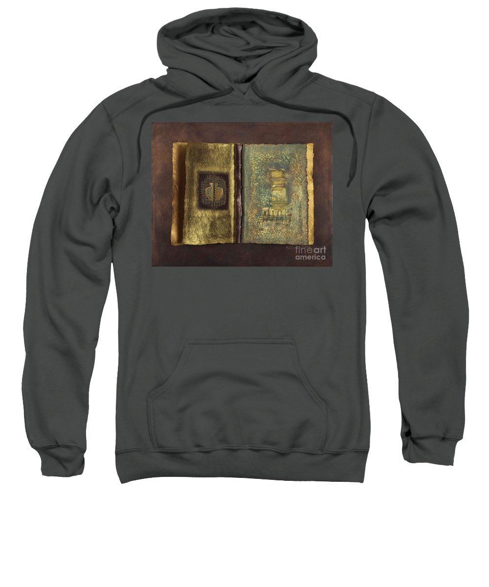 Artist-book Sweatshirt featuring the mixed media Page Format No 1 Transitional Series by Kerryn Madsen-Pietsch