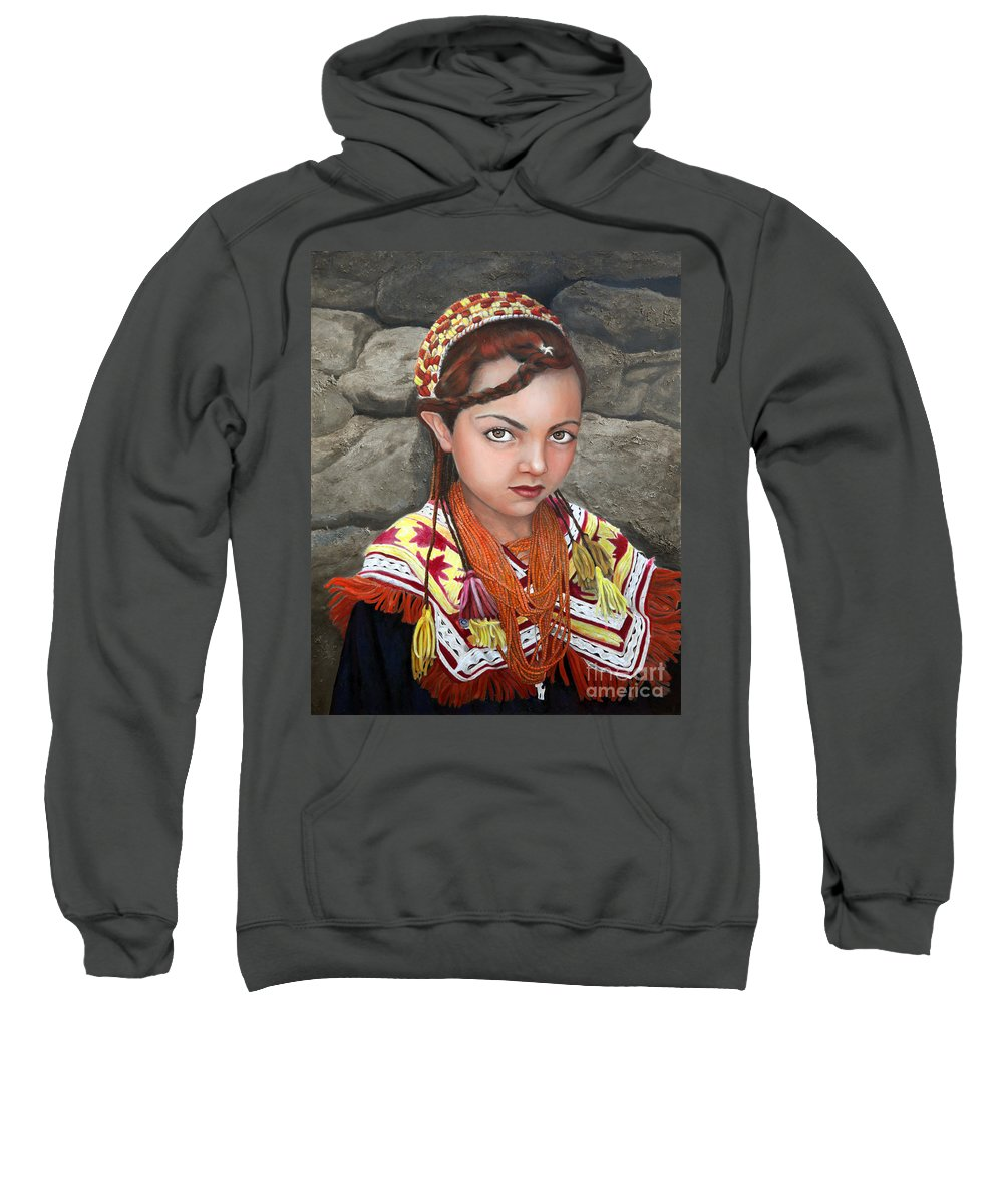 Figurative Art Sweatshirt featuring the painting Pakistani Girl by Portraits By NC