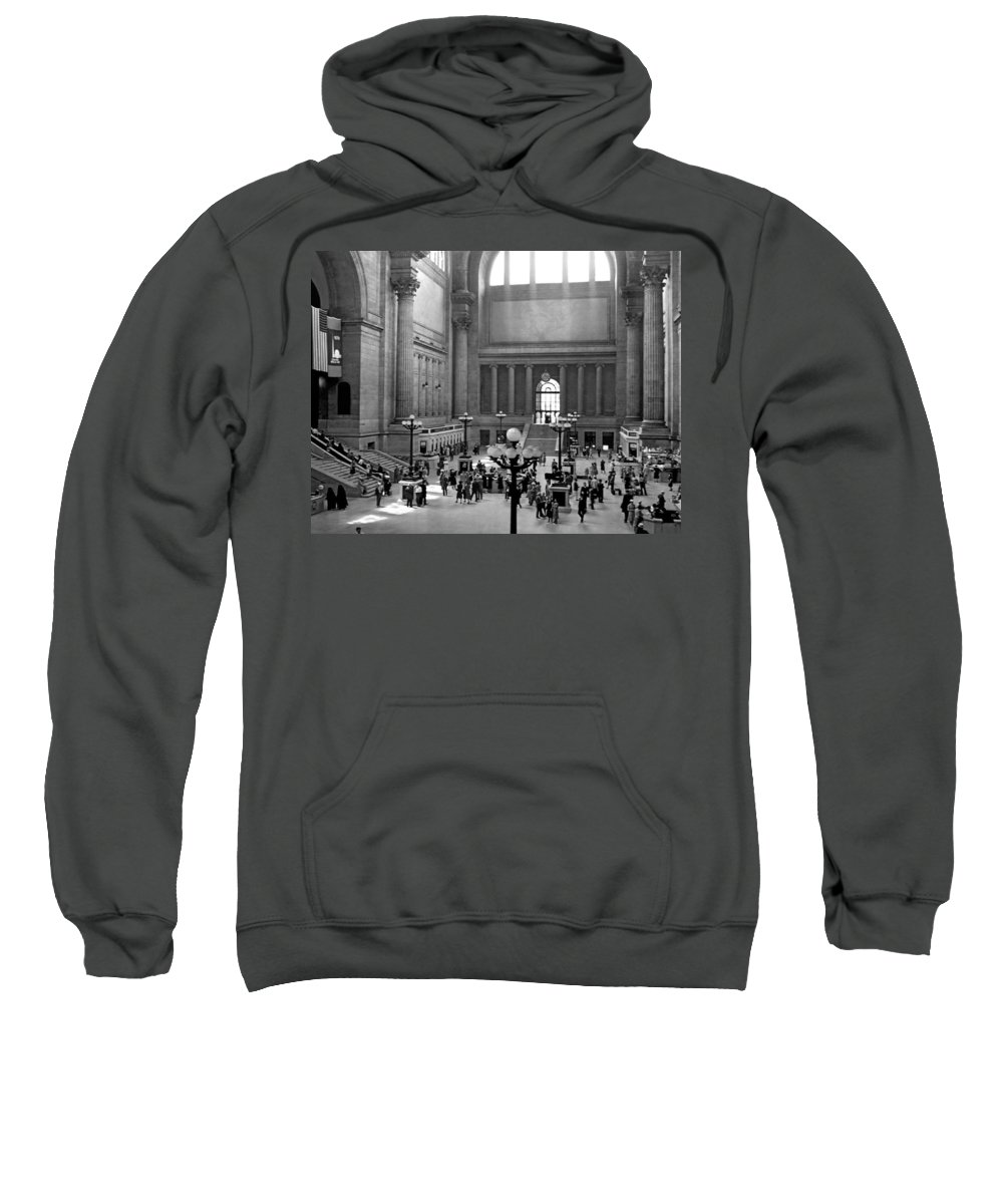 1930s Sweatshirt featuring the photograph Pennsylvania Station Interior by Underwood Archives