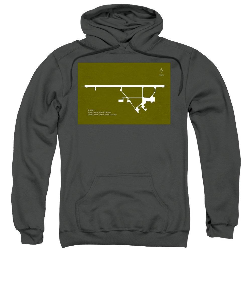 Silhouette Sweatshirt featuring the digital art Pmr Palmerston North Airport In Palmerston North New Zealand Run by Jurq Studio
