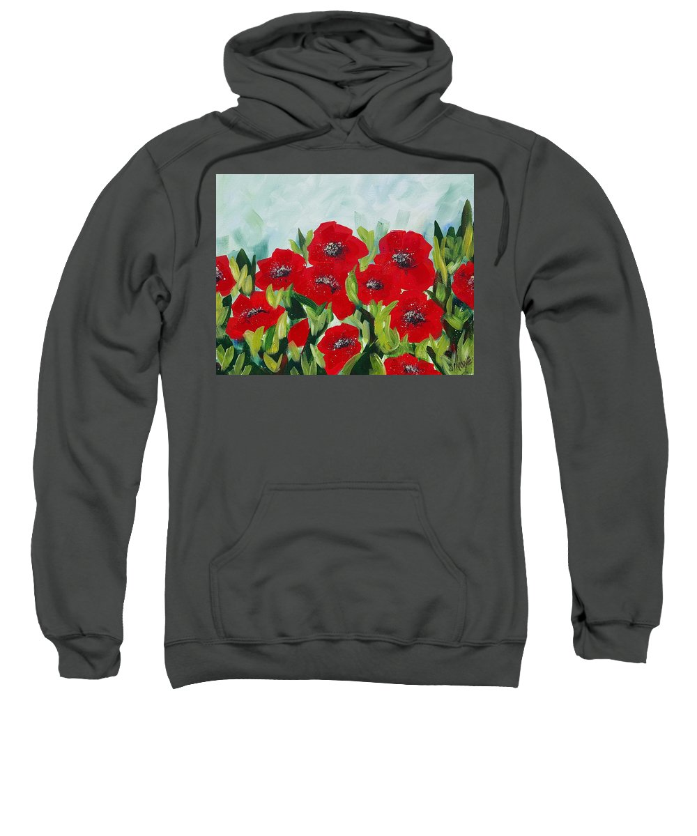 Poppies Sweatshirt featuring the painting Poppies by Simone Germain