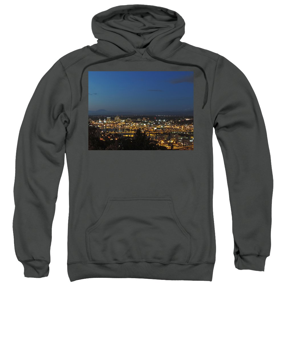 Portland Sweatshirt featuring the photograph Portland At Dusk by Cityscape Photography