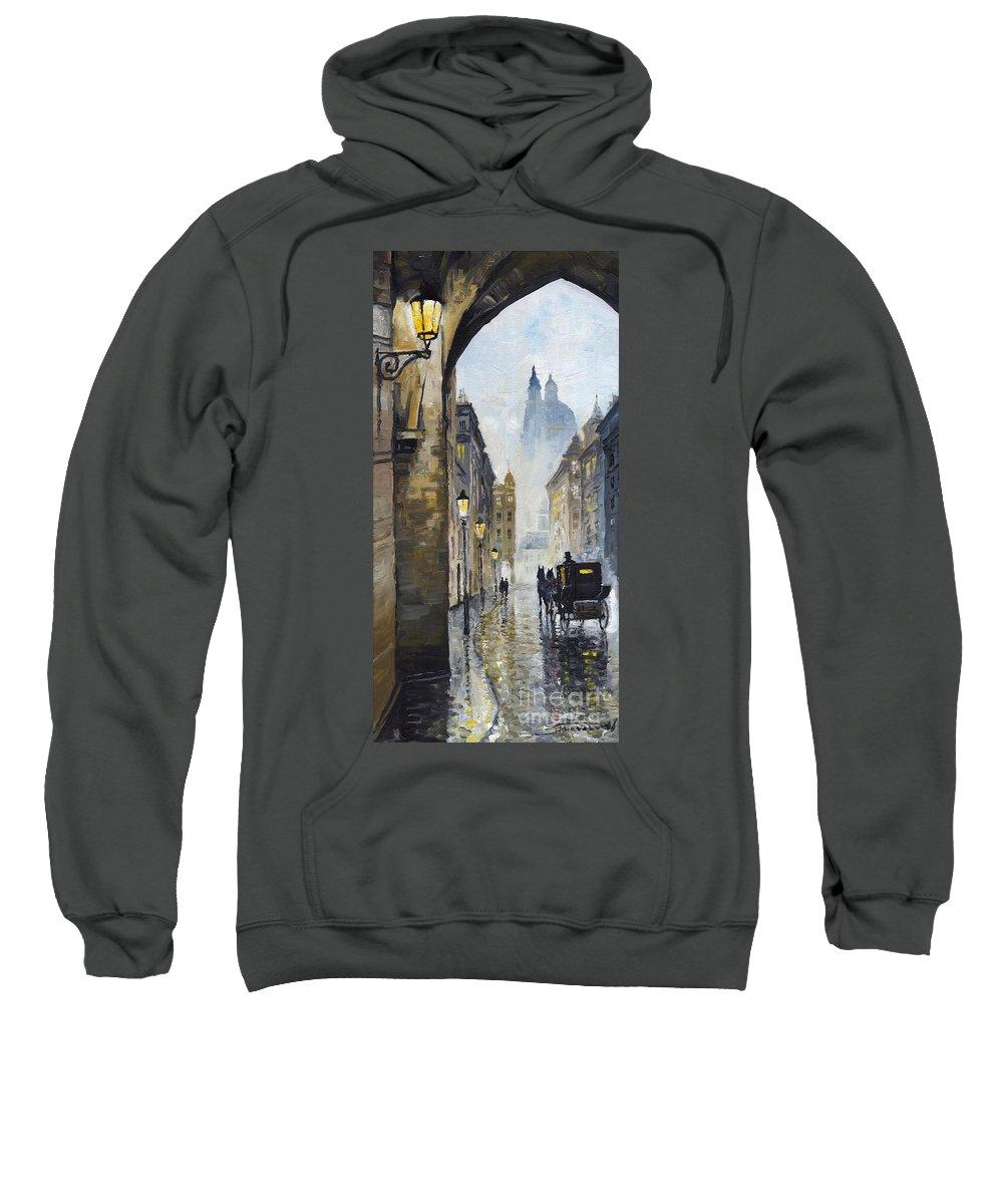 Prague Sweatshirt featuring the painting Prague Old Street 01 by Yuriy Shevchuk