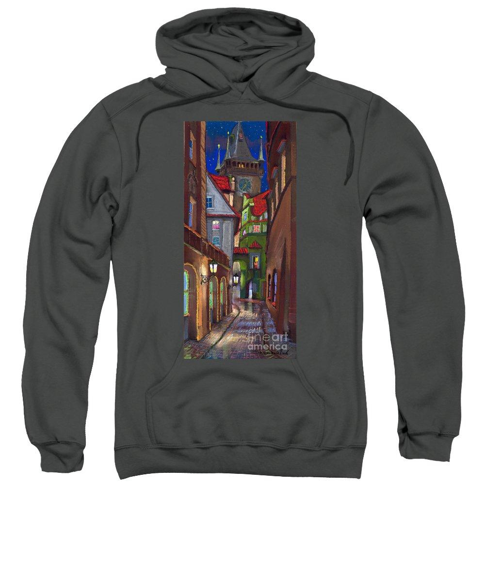 Pastel Sweatshirt featuring the painting Prague Old Street by Yuriy Shevchuk
